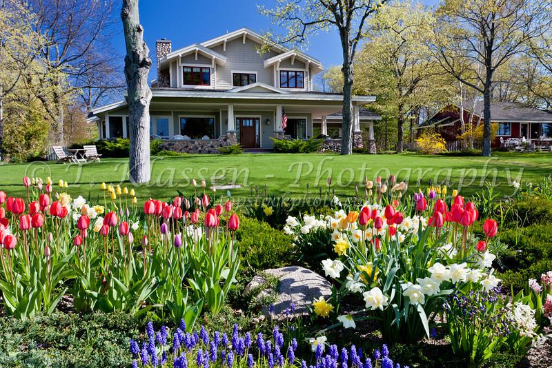 A homestead with spring flowers on the Leelanau Peninisula, near Omena, Michigan, USA.