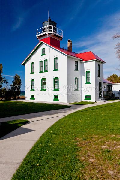 The Grand Traverse Lighthouse near Northport on the Leelanau Peninsula, Michigan, USA.