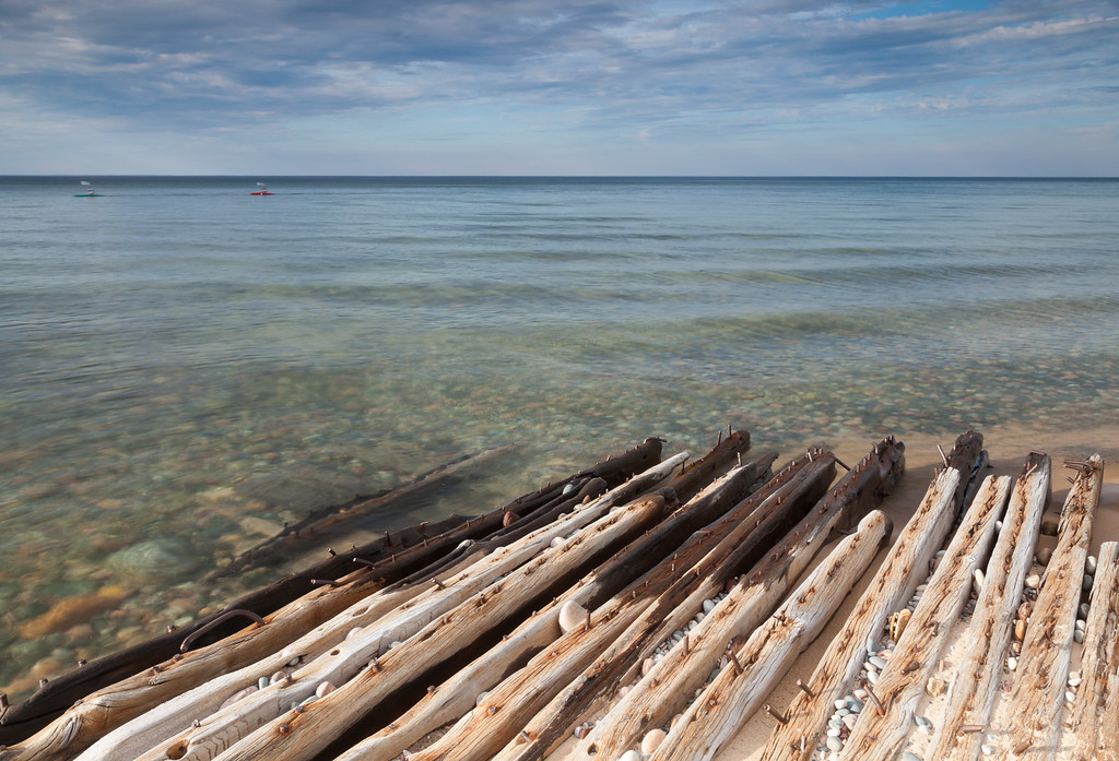 Remains of a shipwreck along the shores of Lake Superior. Pictured Rocks National Lakeshore, MI<br /> <br /> MI-09022-0204
