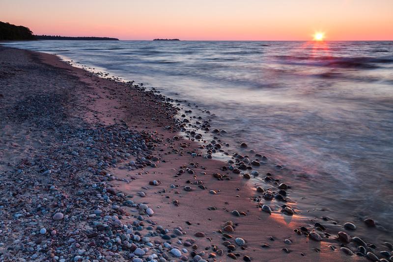Sunset at Point Iroquois. Bay Mills, MI<br /> <br /> MI-110706-0176