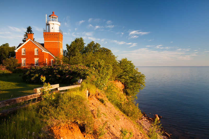 As the sun rises, clouds start moving in over Lake Superior. Big Bay, MI<br /> <br /> MI-110704-0035