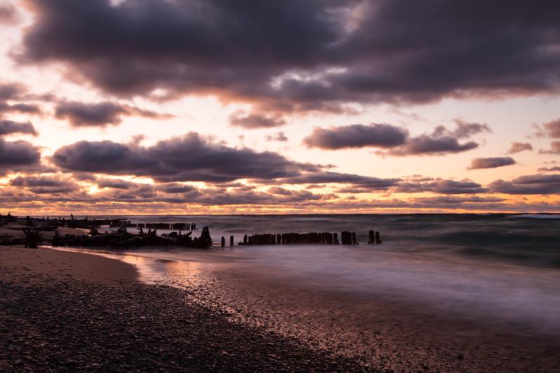 Autumn sunset at Whitefish Point. Paradise, MI<br /> <br /> MI-110930-0338