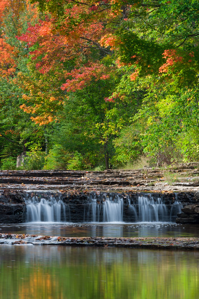 Riffle River falls in Autumn. Upper Peninsula, MI<br /> <br /> MI-080925-0067