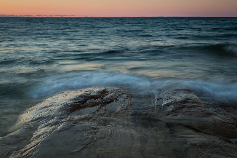 Limestone formation on the shore of Miners Beach. Picture Rocks National Lakeshore, MI<br /> <br /> MI-120929-0239