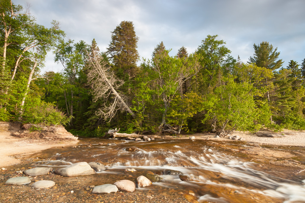 The Hurricane River rushes to meet Lake Superior on Pictured Rocks National Lakeshore. Pictured Rocks National Lakeshore, MI<br /> <br /> MI-090622-0221
