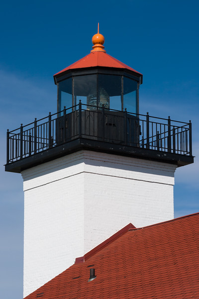 Roofline and tower of Sand Point Lighthouse. Escanaba, MI<br /> <br /> MI-080925-0017