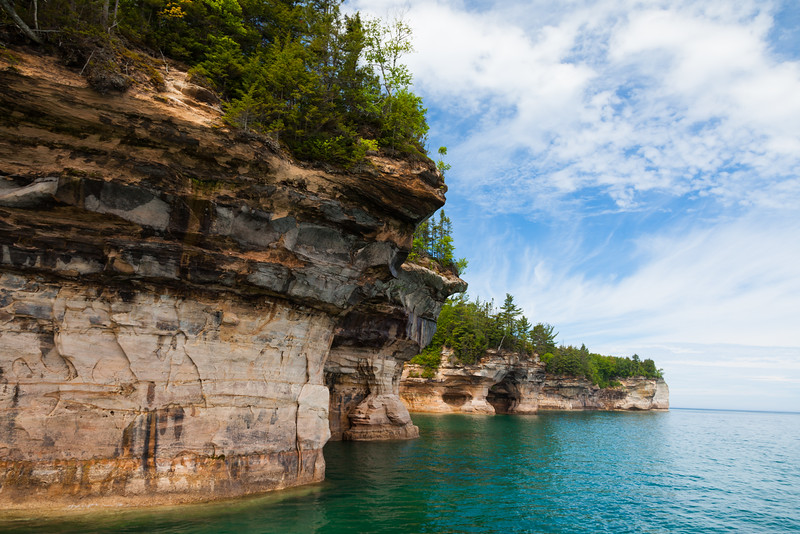 Pictured Rocks National Lakeshore shoreline. Pictured Rocks National Lakeshore, MI<br /> <br /> MI-090622-0075