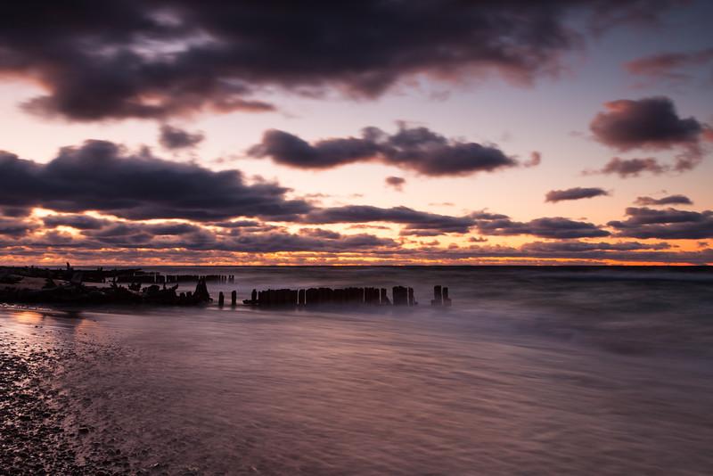 autumn sunset at Whitefish Point. Paradise, MI<br /> <br /> MI-110930-0346