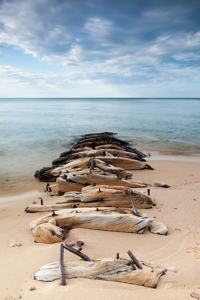 Remains of a shipwreck along the shores of Lake Superior. Pictured Rocks National Lakeshore, MI<br /> <br /> MI-09022-0197