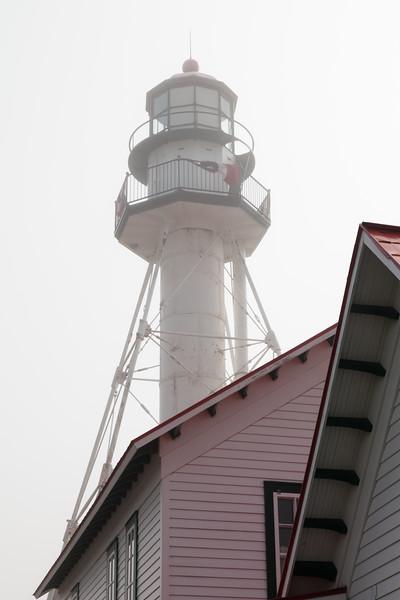 Whitefish Point light tower in fog. Paradise, MI<br /> <br /> MI-110706-0029