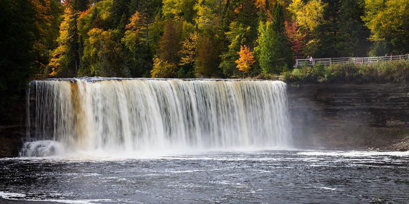 Early fall color provides a backdrop to the Tahquamenon River upper falls. Chippewa County, MI<br /> <br /> MI-110930-0267