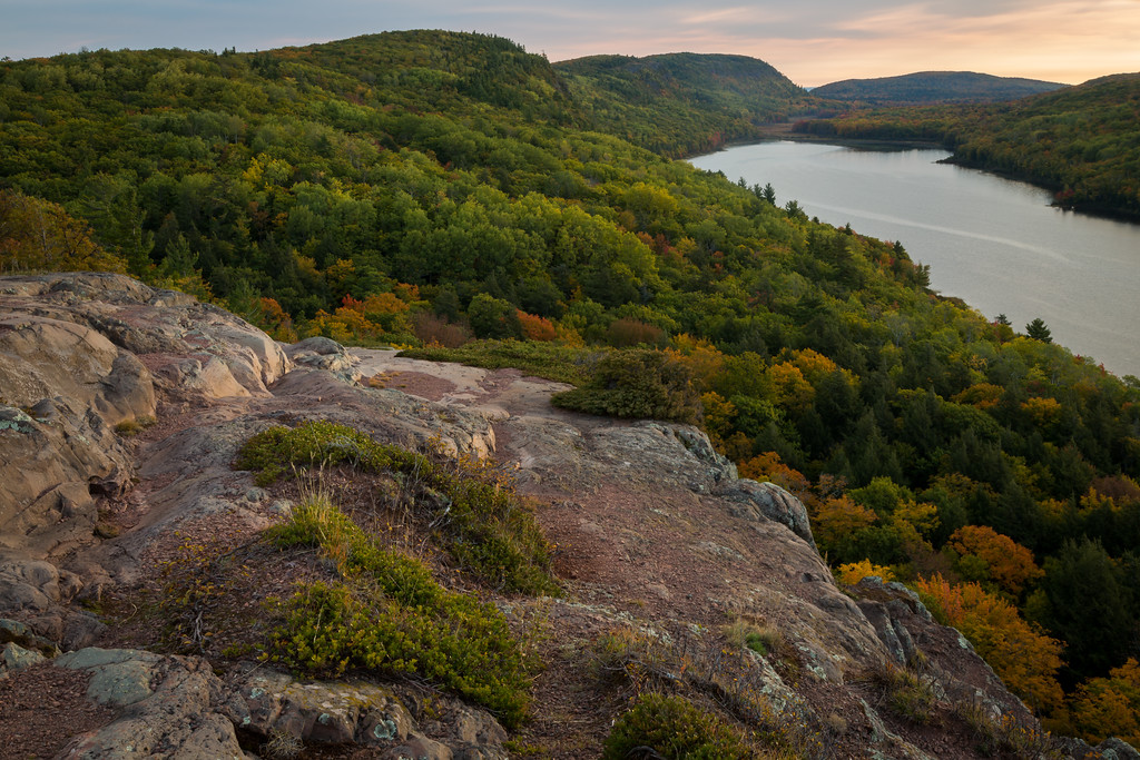 Autumn morning view of Lake of the Clouds. Porcupine Mountains Wilderness State Forest, MI<br /> <br /> MI-120928-0056
