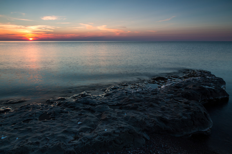 Sunset along the shores of Lake Superior. Porcupine Mountains Wilderness State Forest, MI<br /> <br /> MI-120927-0067