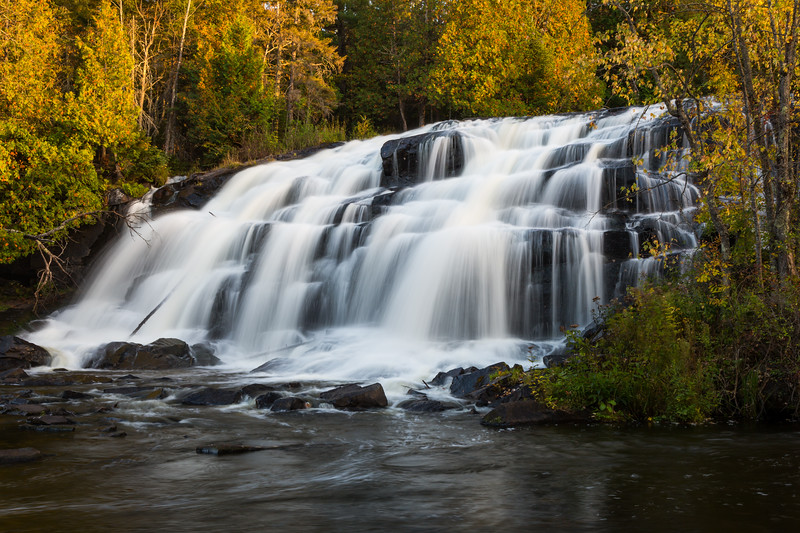 View of half of the lower falls of Bond Falls during sunset. Paulding, MI<br /> <br /> MI-131002-0157