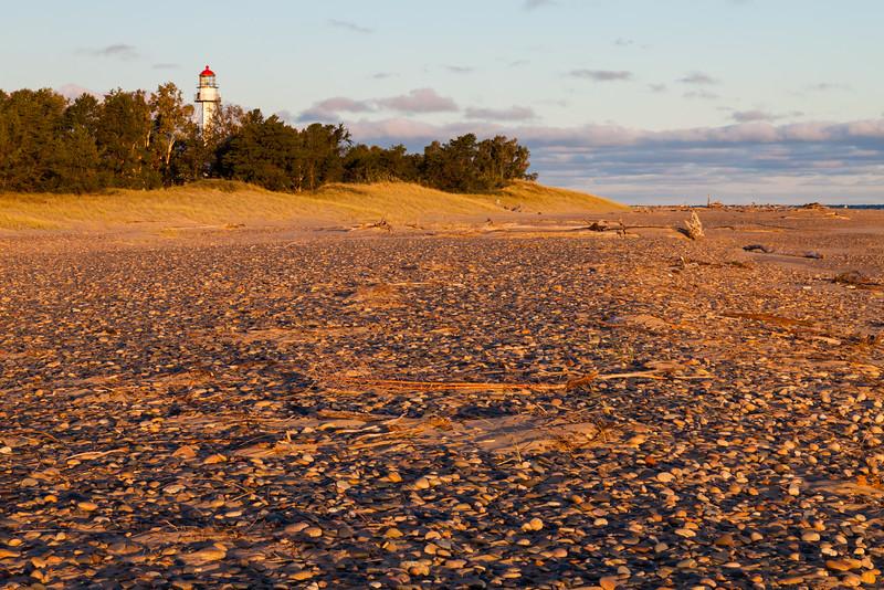 Rocky shoreline of Lake Superior near Whitefish Point Lighthouse. Paradise, MI<br /> <br /> MI-111001-0061