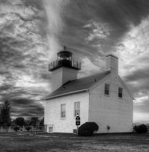 Escanaba Lighthouse in Black and White