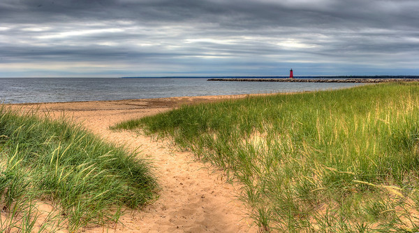 Manistique, Michigan Shoreline and Lighthouse