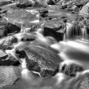 Stream Flowing over Rocks (BW)
