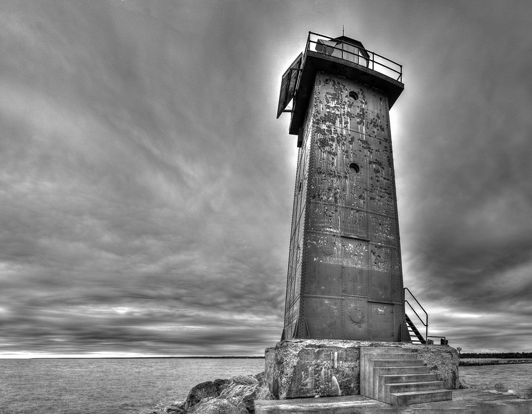 Manistique, Michigan Light in Black and White