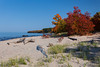 The Lake Superior shore with fall foliage color in the Upper Peninsula, Michigan, USA.