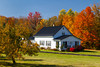 A rural Upper Peninsula home with fall foliage color, Michigan, USA.