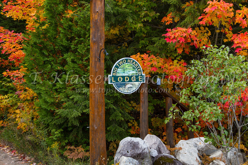 The gate and sign to the Big Two Hearted Lodge in the Upper Peninsula, Michigan, USA.