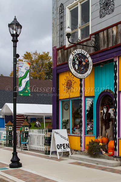 A quaint country antique store on main street in the village of Pellston, Michigan, USA.
