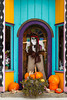 A country storefront decorated for the fall season on main street in the village of Pellston, Michigan, USA.