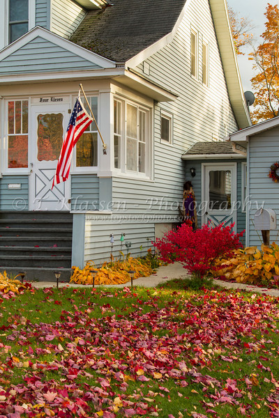 A rural Upper Penninsula home with fall foliage color, Michigan, USA.