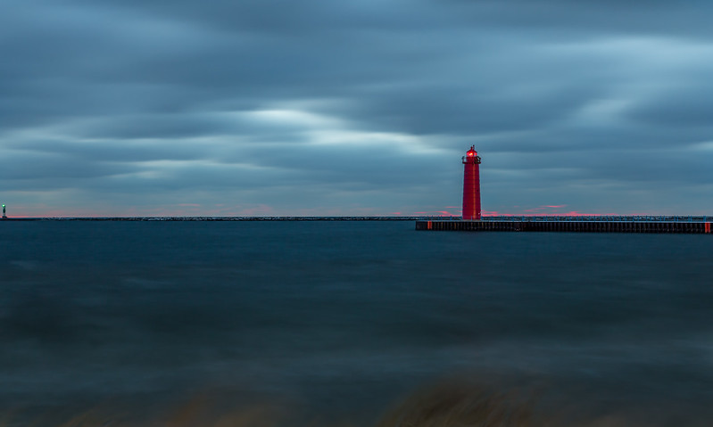 Long exposure photo of the Muskegon Lighthouse.