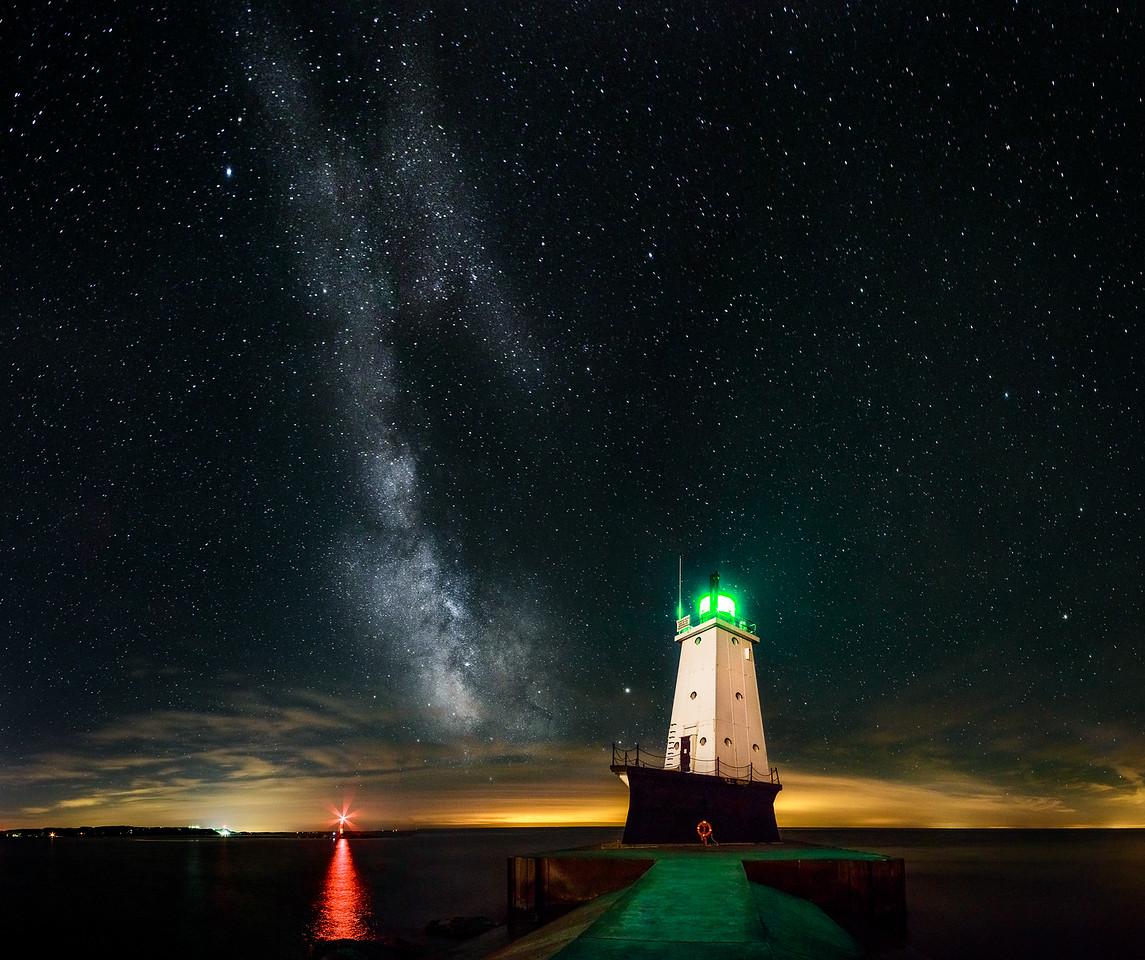 Milky Way Over the Ludington Lighthouse