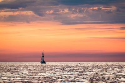 Sailing Lake Michigan Sunset