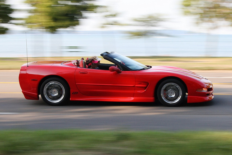 Just a shot of a vette driving along the east bay in Traverse City