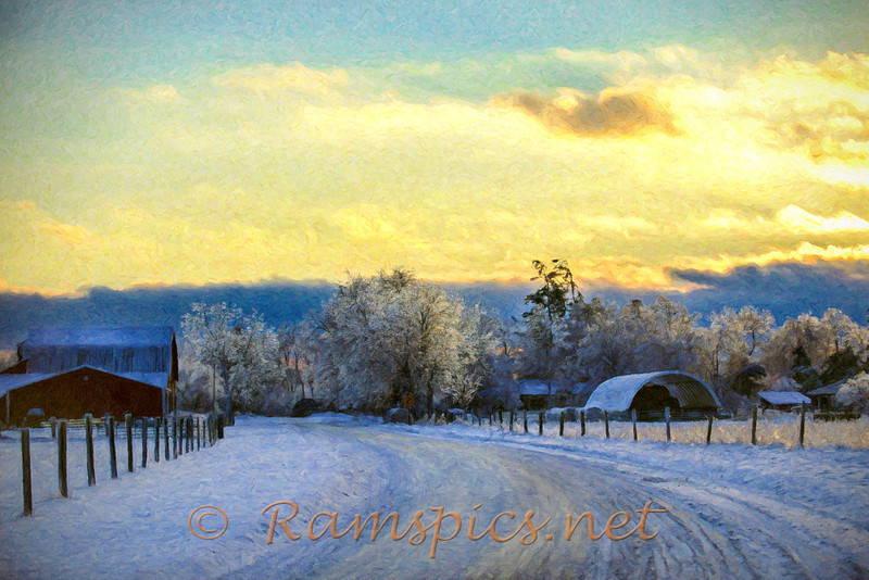 Image of the Tirrell ( Centennial Farm ) property taken near dusk on Christmas Eve 2013. <br /> <br /> *** This image has been processed using a painterly method.***