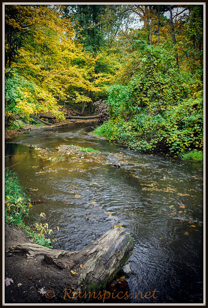 Battle Creek River runs through Bennett Park, fall of 2012 in Charlotte Michigan.