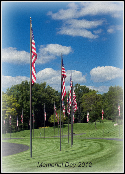 Entrance of Flags at the Fort Custer National Veterans Cemetery, near Battle Creek Michigan.