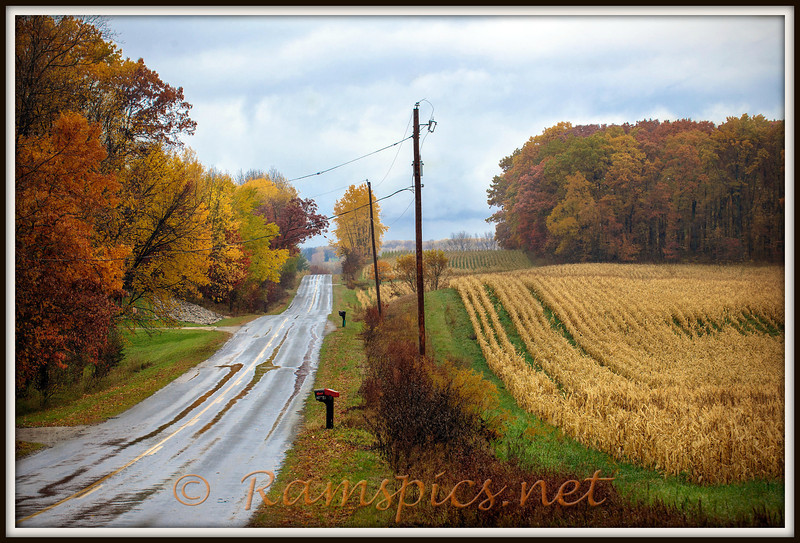 Rainy fall afternoon outside Nashville Michigan, October 2012.