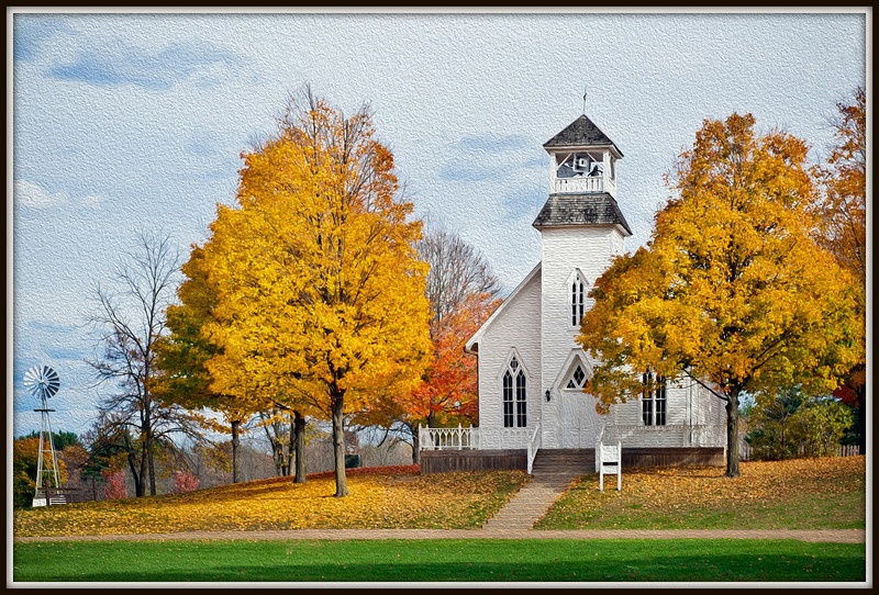 Photograph processed as painting of chapel in the fall. Hastings MI.