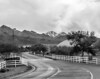 Black and white conversion of West World, with snow on the McDowell mountains in background.