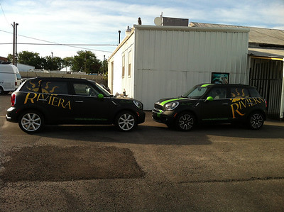 The Riviera Tanning Spa, Matte Black with Gloss Overlays, Mini Clubman, Dallas, TX