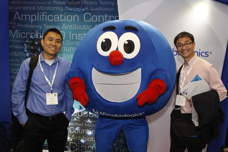 Attendees with Stanley Staphylococcus during Exhibits
