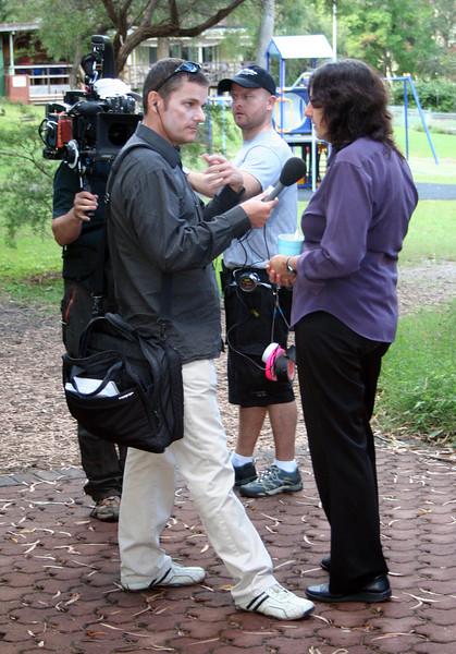 BBC correspondent Phil Mercer interviewing Dr Judy Lattas.