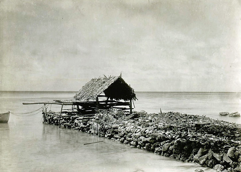 Chuuk, 1899:  Photograph by Henry Clifford Fassett showing a drying rack and shed at the end of a coral jetty