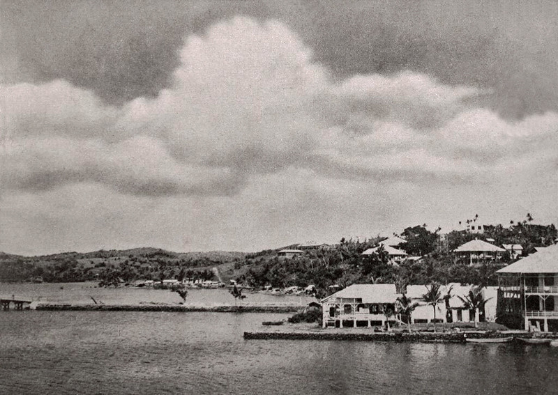 A view of Colonia on the northern side of the upper reaches of Chamorro Bay, about 1930