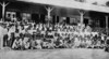 Marshallese students in front of their Japanese-conducted school on Jaluit, 1921 (Junius B. Wood)