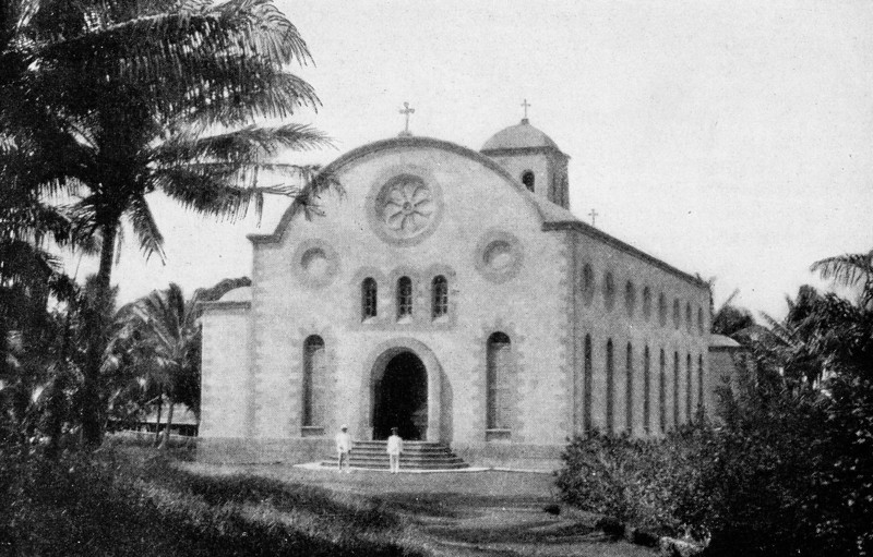 A large church on Pohnpei, originally built by Americans and later remodeled by the Spaniards (Junius B. Wood, 1921)