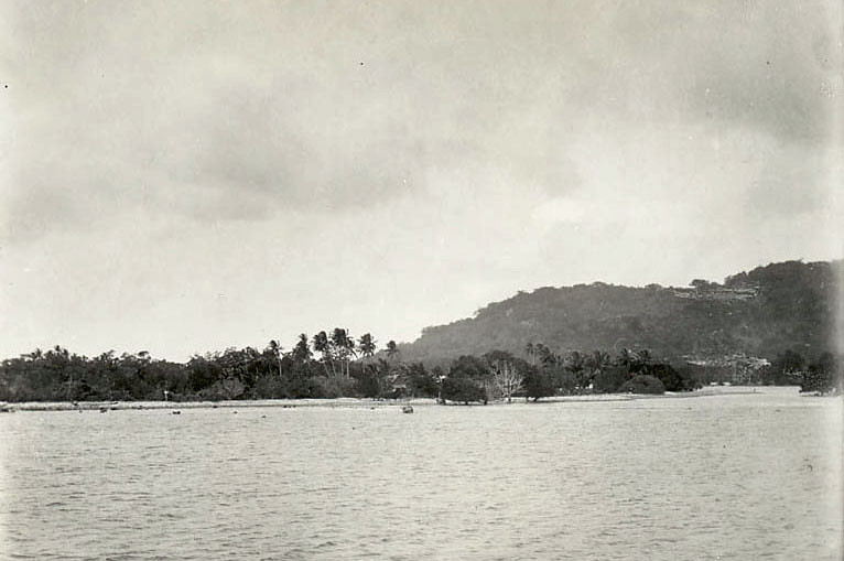 Kosrae, 1899:  View of a coastal village from the water (photograph by Henry Clifford Fassett)