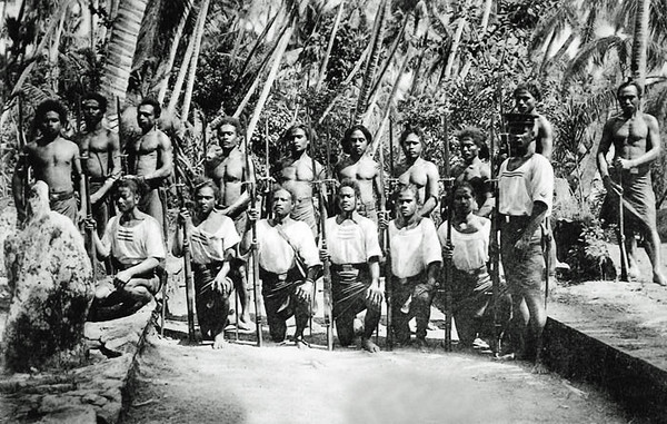 Photograph from the period of German rule on Yap, showing Yapese members of the island police force, circa 1900