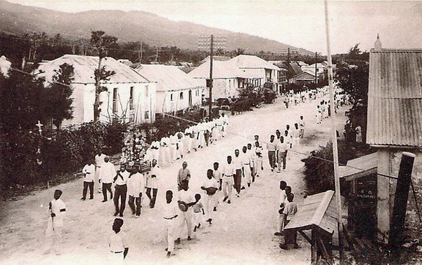 A funeral procession for a child on Saipan, about 1920