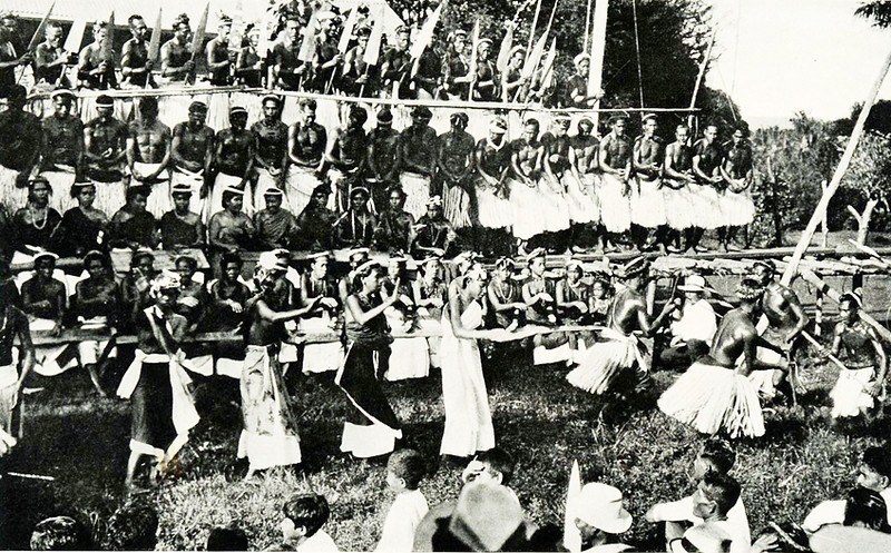 Again, from the same early 1920s period, another photograph by Junius B. Wood showing the dance on Pohnpei on the same occasion.